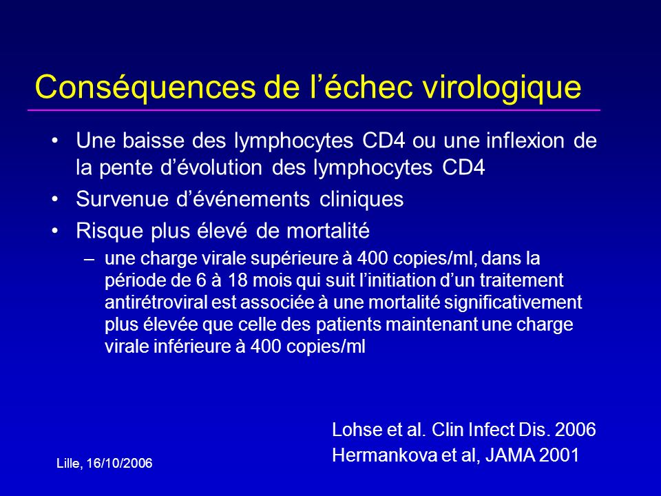 Lille, 16/10/2006 « Clinical and immunologic benefits are maintained in patients with partial virologic suppression (<10,000 copies/ml) » J Acquir Immune Defic Syndr 2003