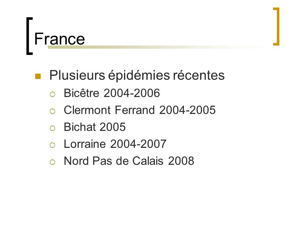 France Plusieurs épidémies récentes Bicêtre 2004-2006 Clermont Ferrand 2004-2005 Bichat 2005 Lorraine 2004-2007 Nord Pas de Calais 2008