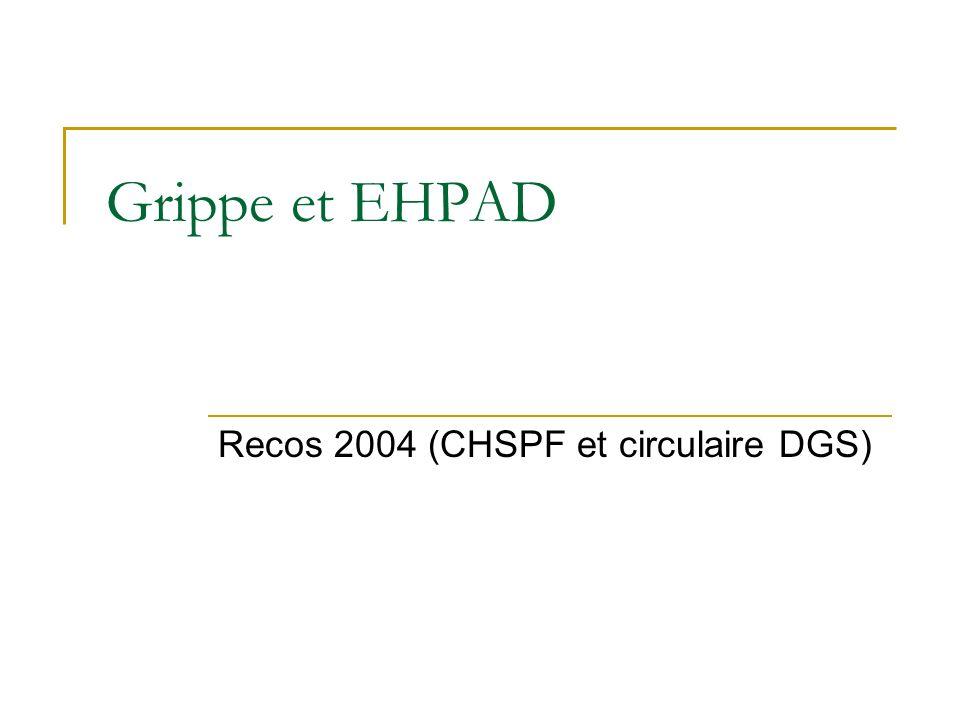 Grippe et EHPAD Recos 2004 (CHSPF et circulaire DGS)