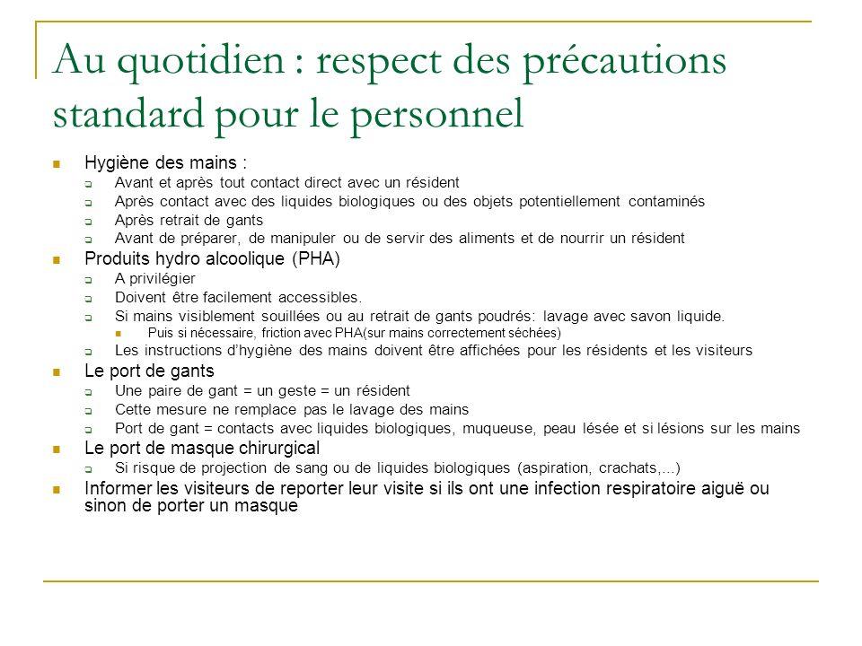 Au quotidien : respect des précautions standard pour le personnel Hygiène des mains : Avant et après tout contact direct avec un résident Après contac