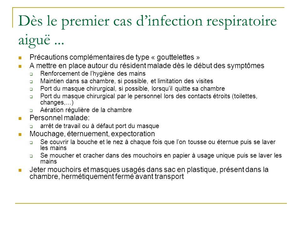 Dès le premier cas dinfection respiratoire aiguë... Précautions complémentaires de type « gouttelettes » A mettre en place autour du résident malade d