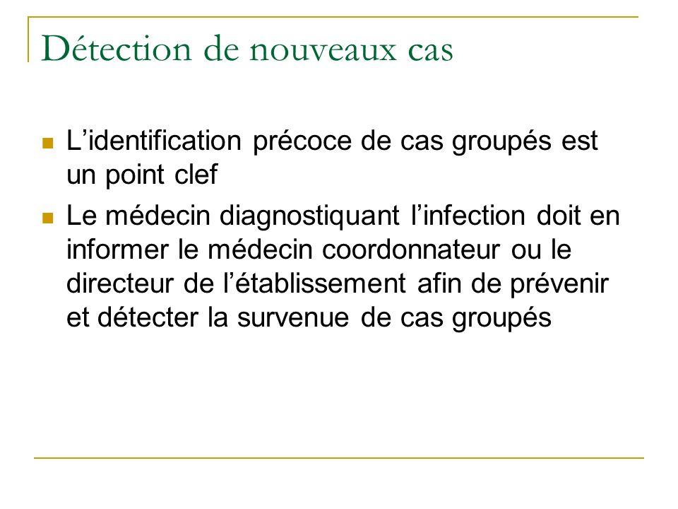 Détection de nouveaux cas Lidentification précoce de cas groupés est un point clef Le médecin diagnostiquant linfection doit en informer le médecin co