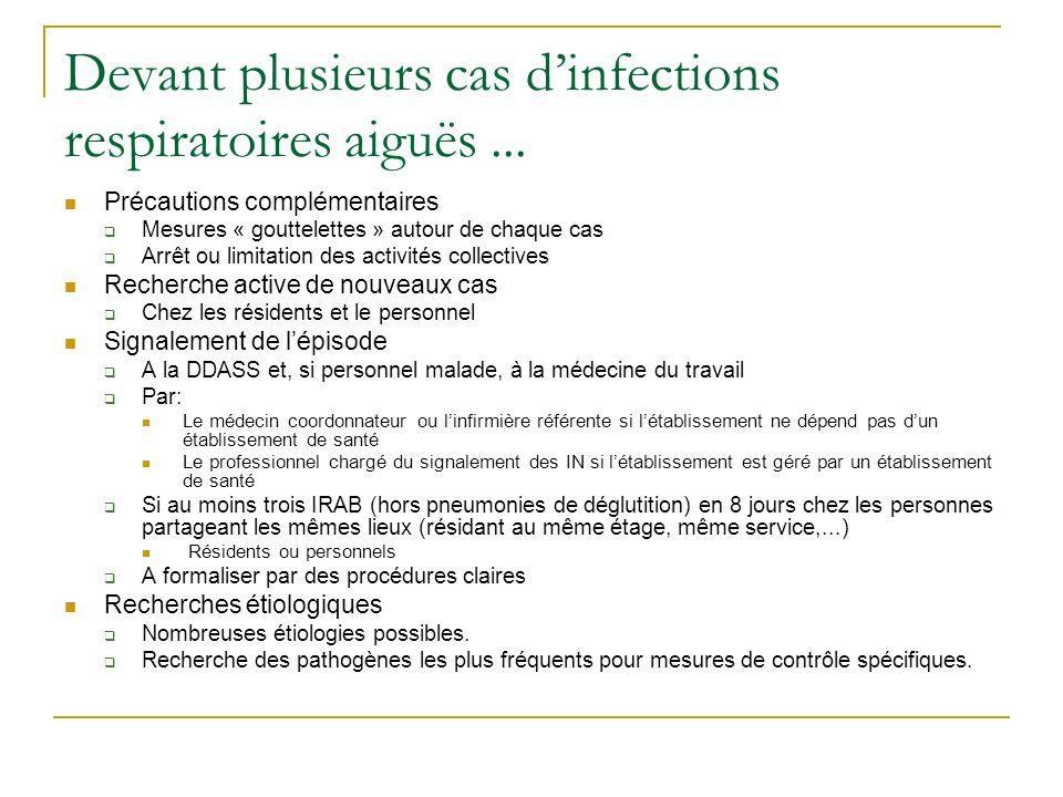 Devant plusieurs cas dinfections respiratoires aiguës... Précautions complémentaires Mesures « gouttelettes » autour de chaque cas Arrêt ou limitation