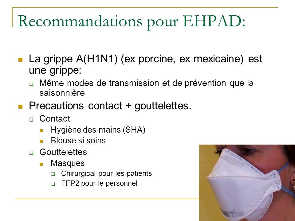 Recommandations pour EHPAD: La grippe A(H1N1) (ex porcine, ex mexicaine) est une grippe: Même modes de transmission et de prévention que la saisonnièr