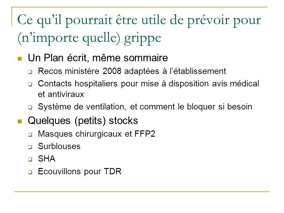 Ce quil pourrait être utile de prévoir pour (nimporte quelle) grippe Un Plan écrit, même sommaire Recos ministère 2008 adaptées à létablissement Conta