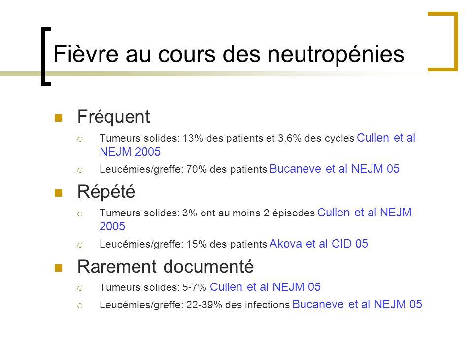 Fièvre au cours des neutropénies Fréquent Tumeurs solides: 13% des patients et 3,6% des cycles Cullen et al NEJM 2005 Leucémies/greffe: 70% des patients Bucaneve et al NEJM 05 Répété Tumeurs solides: 3% ont au moins 2 épisodes Cullen et al NEJM 2005 Leucémies/greffe: 15% des patients Akova et al CID 05 Rarement documenté Tumeurs solides: 5-7% Cullen et al NEJM 05 Leucémies/greffe: 22-39% des infections Bucaneve et al NEJM 05