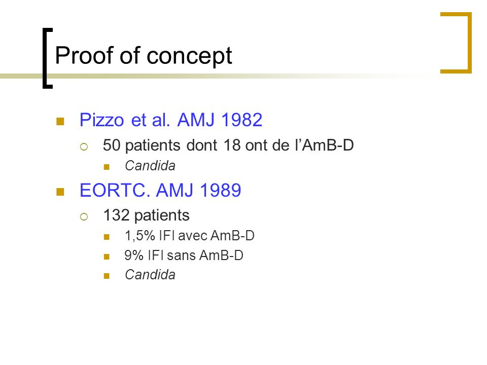 Proof of concept Pizzo et al. AMJ 1982 50 patients dont 18 ont de lAmB-D Candida EORTC. AMJ 1989 132 patients 1,5% IFI avec AmB-D 9% IFI sans AmB-D Ca