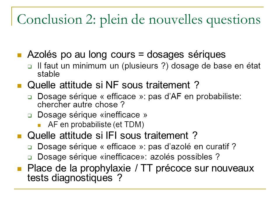 Conclusion 2: plein de nouvelles questions Azolés po au long cours = dosages sériques Il faut un minimum un (plusieurs ?) dosage de base en état stabl