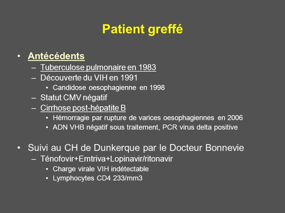 Patient greffé Antécédents –Tuberculose pulmonaire en 1983 –Découverte du VIH en 1991 Candidose oesophagienne en 1998 –Statut CMV négatif –Cirrhose po