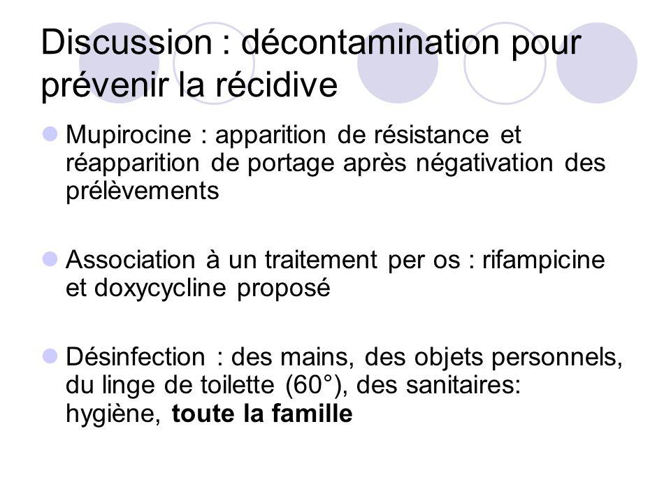 Discussion : décontamination pour prévenir la récidive Mupirocine : apparition de résistance et réapparition de portage après négativation des prélève