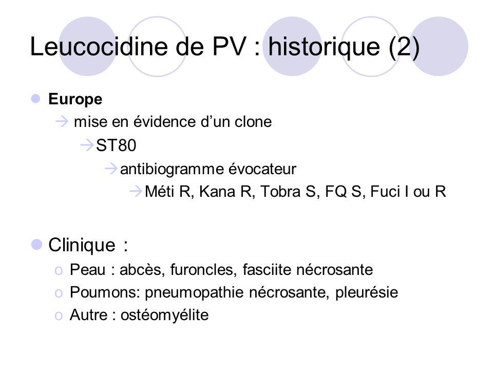 Leucocidine de PV : historique (2) Europe mise en évidence dun clone ST80 antibiogramme évocateur Méti R, Kana R, Tobra S, FQ S, Fuci I ou R Clinique