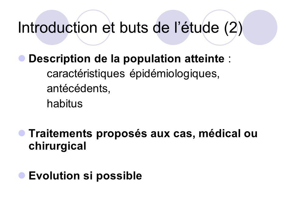 Introduction et buts de létude (2) Description de la population atteinte : caractéristiques épidémiologiques, antécédents, habitus Traitements proposé
