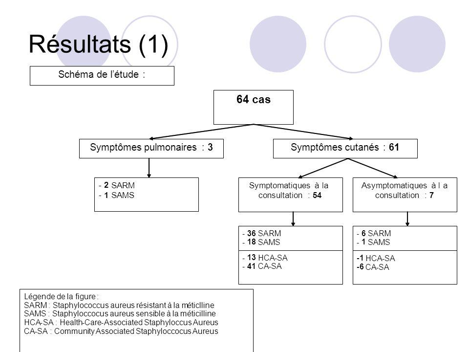 Résultats (1) 64 cas Symptômes pulmonaires : 3 Symptômes cutanés : 61 - 2 SARM - 1 SAMS Symptomatiques à la consultation : 54 Asymptomatiques à la con