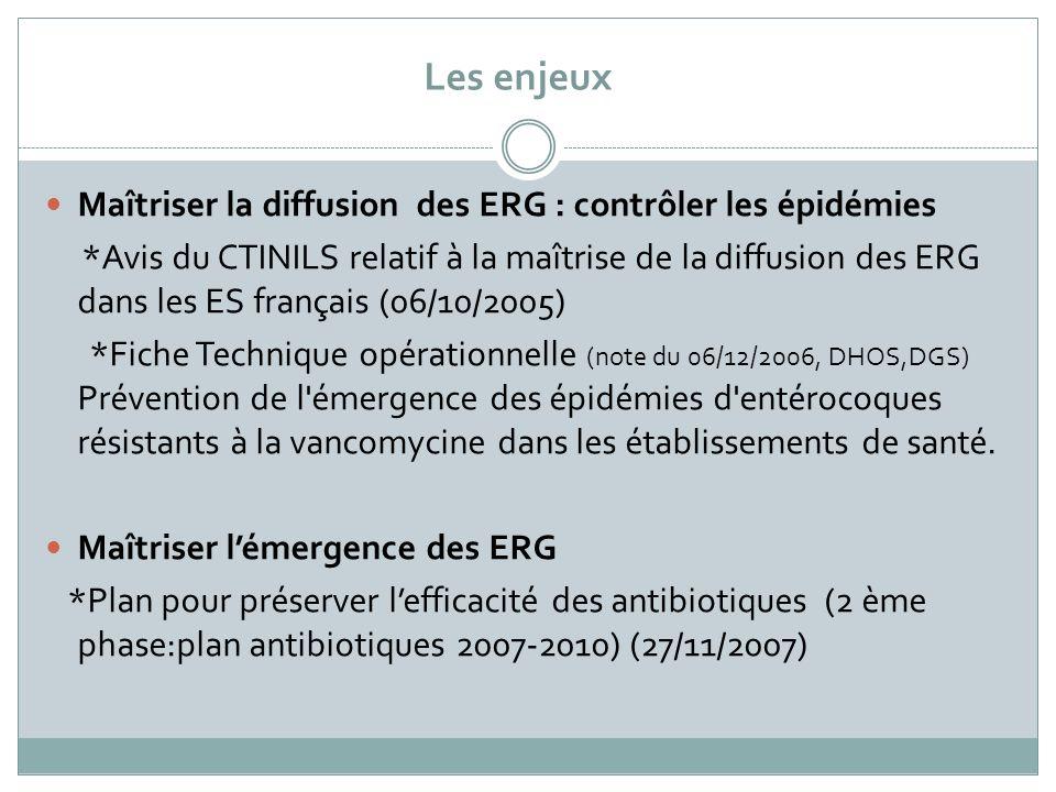 Les enjeux Maîtriser la diffusion des ERG : contrôler les épidémies *Avis du CTINILS relatif à la maîtrise de la diffusion des ERG dans les ES françai
