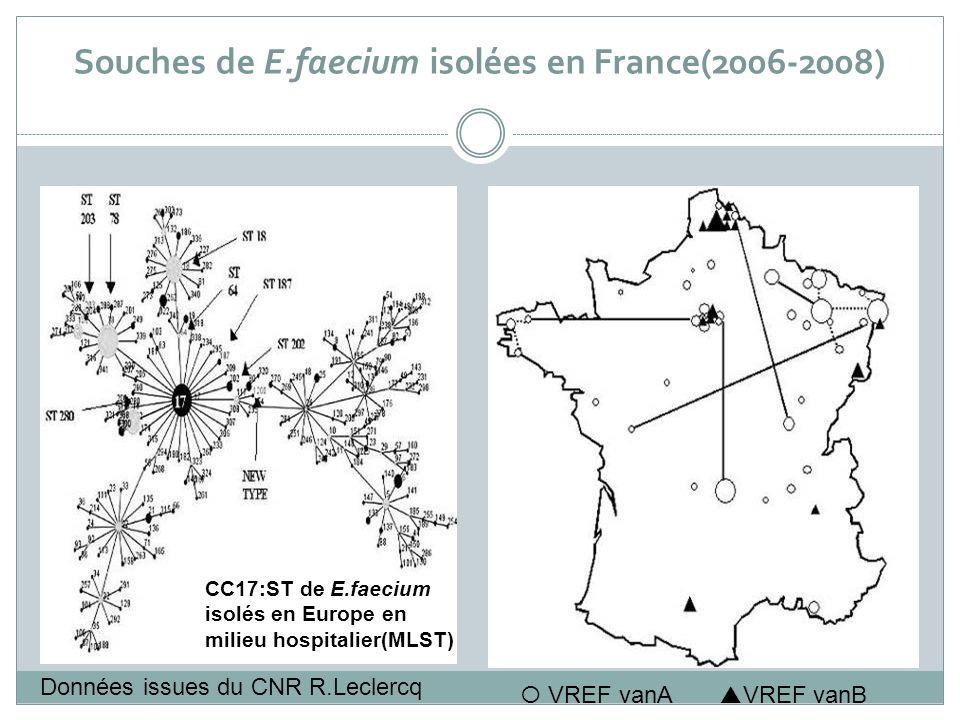 Souches de E.faecium isolées en France(2006-2008) VREF vanA VREF vanB CC17:ST de E.faecium isolés en Europe en milieu hospitalier(MLST) Données issues