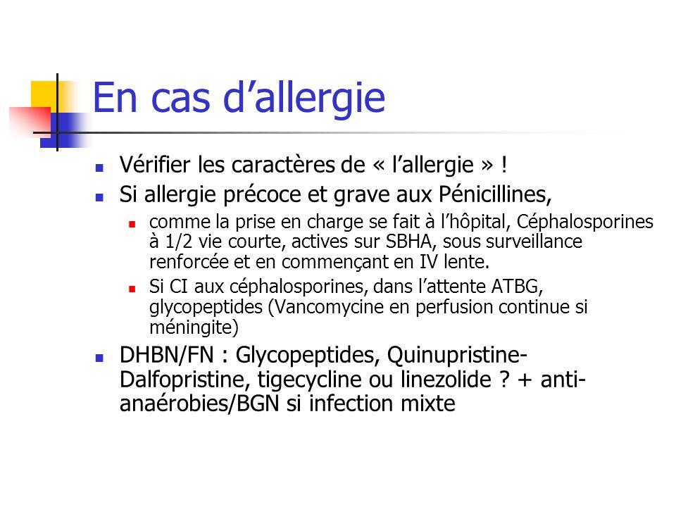 En cas dallergie Vérifier les caractères de « lallergie » ! Si allergie précoce et grave aux Pénicillines, comme la prise en charge se fait à lhôpital