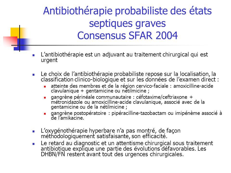 Antibiothérapie probabiliste des états septiques graves Consensus SFAR 2004 Lantibiothérapie est un adjuvant au traitement chirurgical qui est urgent