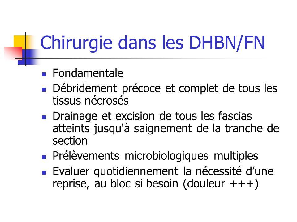 Chirurgie dans les DHBN/FN Fondamentale Débridement précoce et complet de tous les tissus nécrosés Drainage et excision de tous les fascias atteints j
