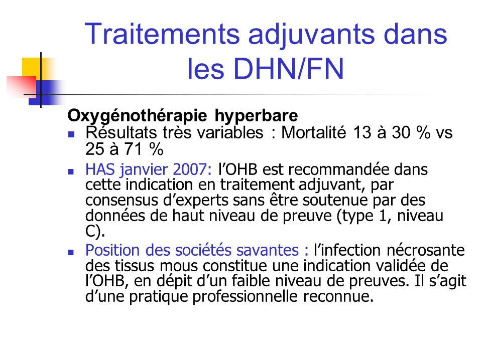 Traitements adjuvants dans les DHN/FN Oxygénothérapie hyperbare Résultats très variables : Mortalité 13 à 30 % vs 25 à 71 % HAS janvier 2007: lOHB est
