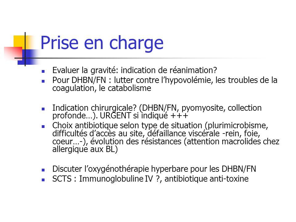 Prise en charge Evaluer la gravité: indication de réanimation? Pour DHBN/FN : lutter contre lhypovolémie, les troubles de la coagulation, le catabolis