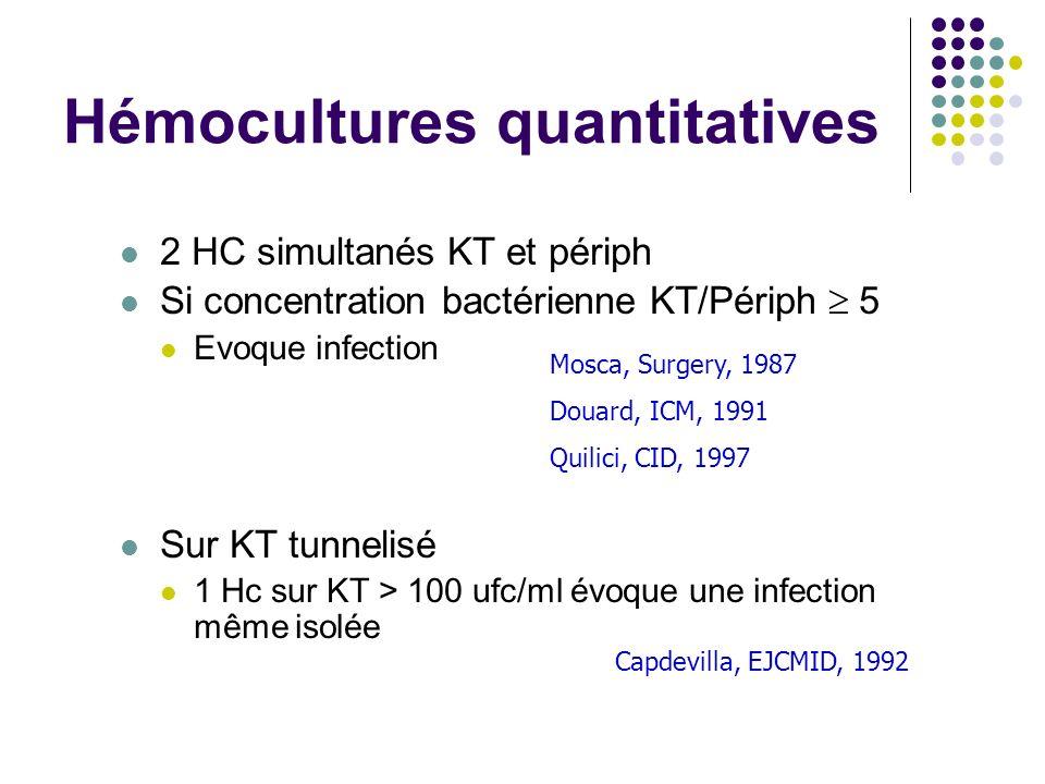 Hémocultures quantitatives 2 HC simultanés KT et périph Si concentration bactérienne KT/Périph 5 Evoque infection Sur KT tunnelisé 1 Hc sur KT > 100 u