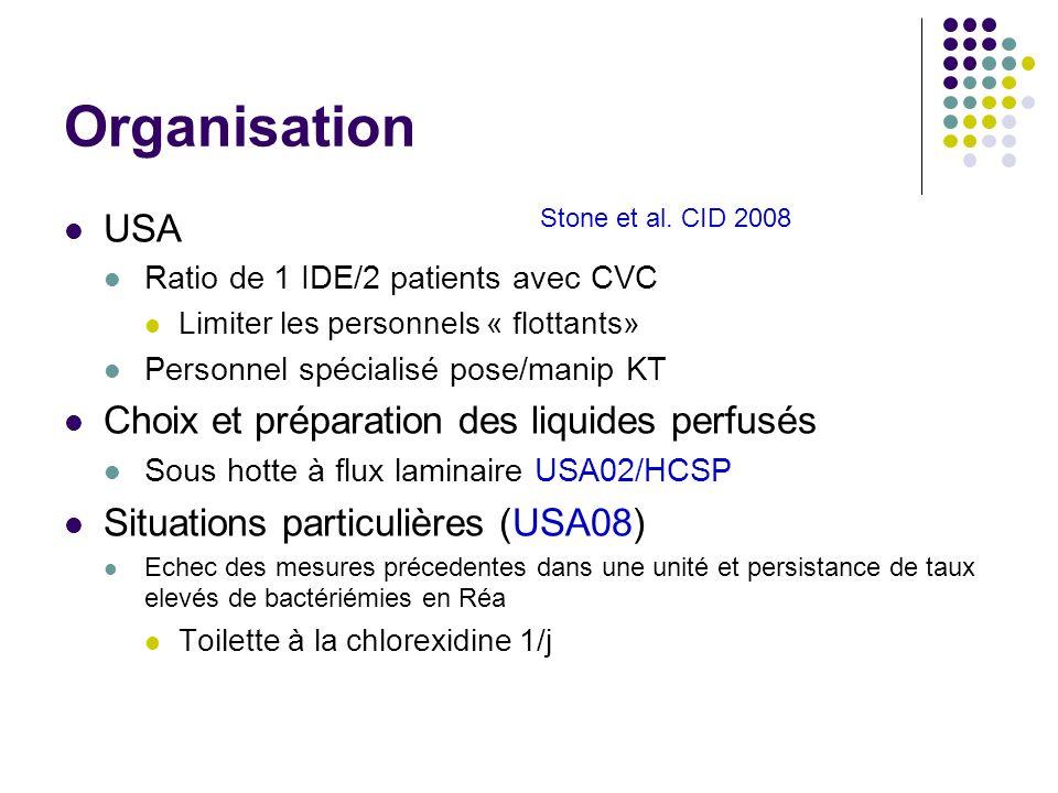 Organisation USA Ratio de 1 IDE/2 patients avec CVC Limiter les personnels « flottants» Personnel spécialisé pose/manip KT Choix et préparation des li