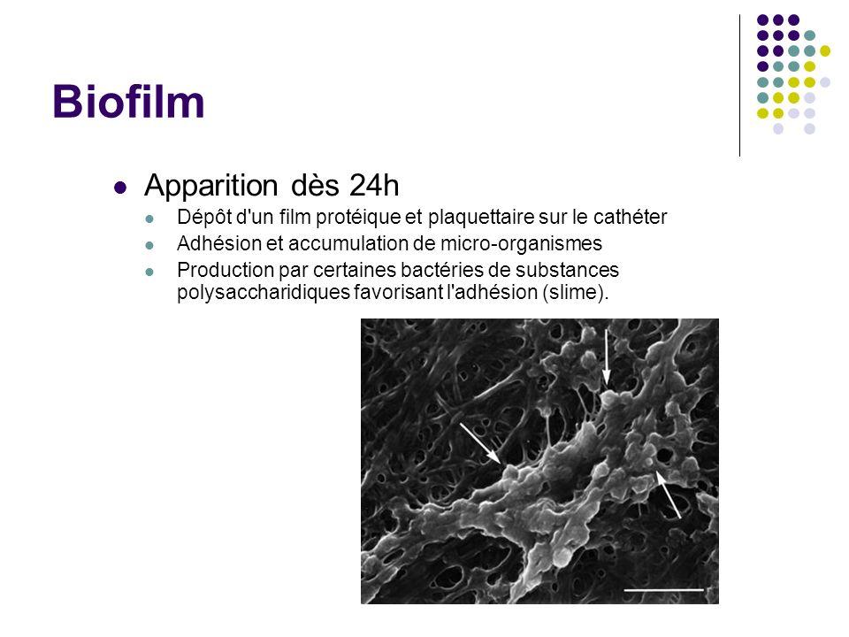 Biofilm Apparition dès 24h Dépôt d'un film protéique et plaquettaire sur le cathéter Adhésion et accumulation de micro-organismes Production par certa
