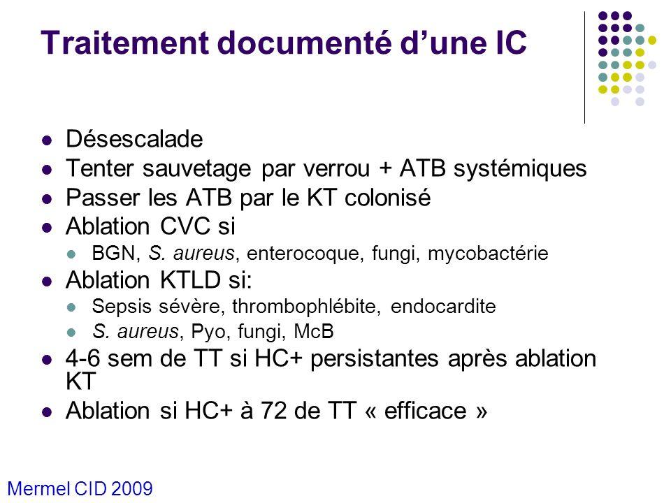 Traitement documenté dune IC Désescalade Tenter sauvetage par verrou + ATB systémiques Passer les ATB par le KT colonisé Ablation CVC si BGN, S. aureu