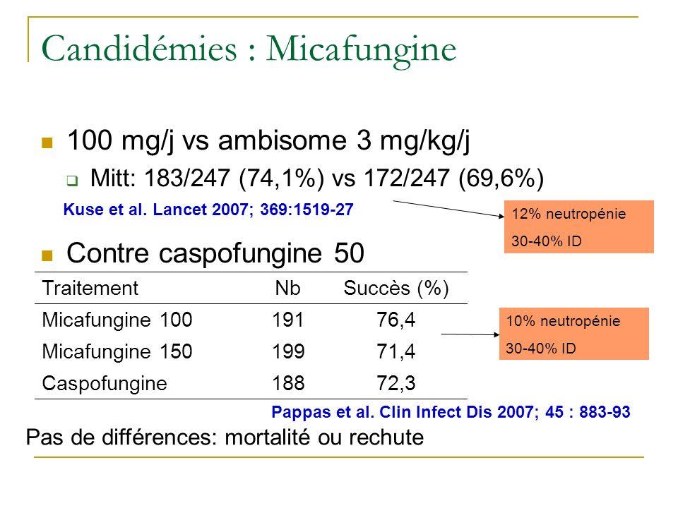 12% neutropénie 30-40% ID Candidémies : Micafungine 100 mg/j vs ambisome 3 mg/kg/j Mitt: 183/247 (74,1%) vs 172/247 (69,6%) Contre caspofungine 50 Kuse et al.
