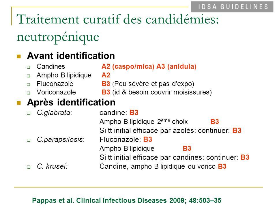 Traitement curatif des candidémies: neutropénique Avant identification Candines A2 (caspo/mica) A3 (anidula) Ampho B lipidique A2 Fluconazole B3 ( Peu sévère et pas dexpo) Voriconazole B3 (id & besoin couvrir moisissures) Après identification C.glabrata: candine: B3 Ampho B lipidique 2 ème choixB3 Si tt initial efficace par azolés: continuer: B3 C.parapsilosis: Fluconazole: B3 Ampho B lipidiqueB3 Si tt initial efficace par candines: continuer: B3 C.