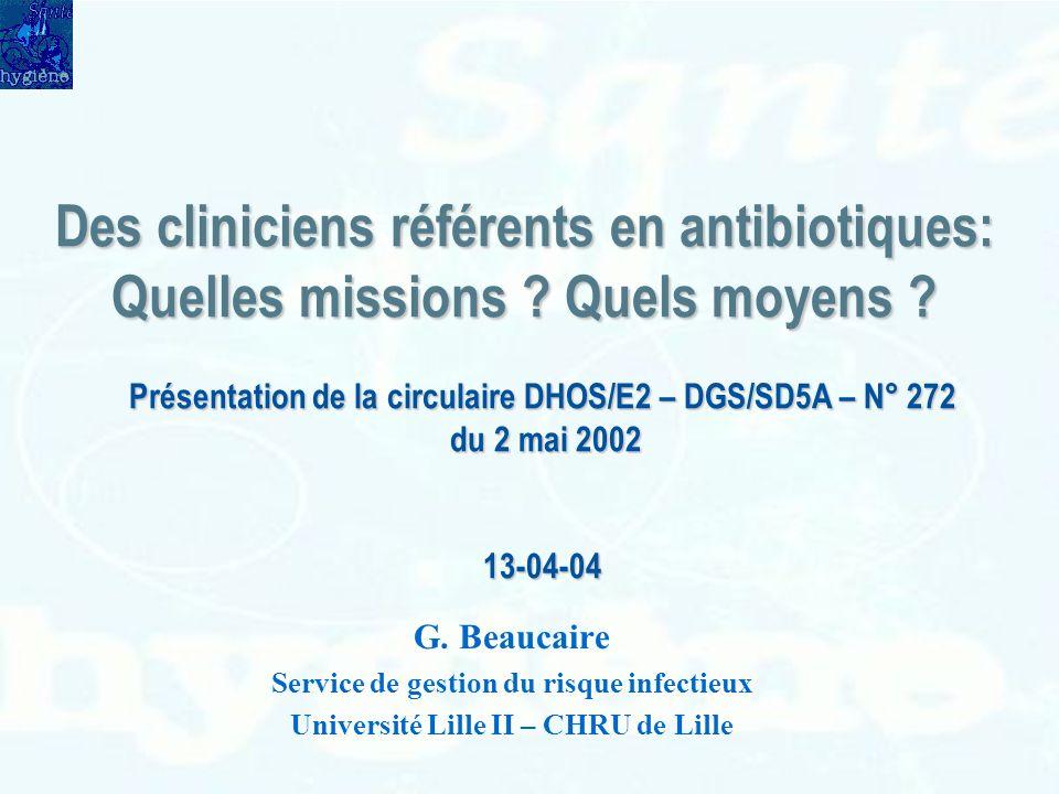Des cliniciens référents en antibiotiques: Quelles missions ? Quels moyens ? G. Beaucaire Service de gestion du risque infectieux Université Lille II