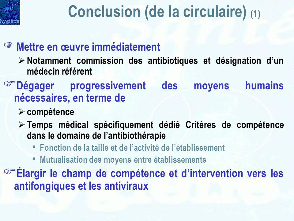 Conclusion (de la circulaire) (1) Mettre en œuvre immédiatement Notamment commission des antibiotiques et désignation dun médecin référent Dégager pro