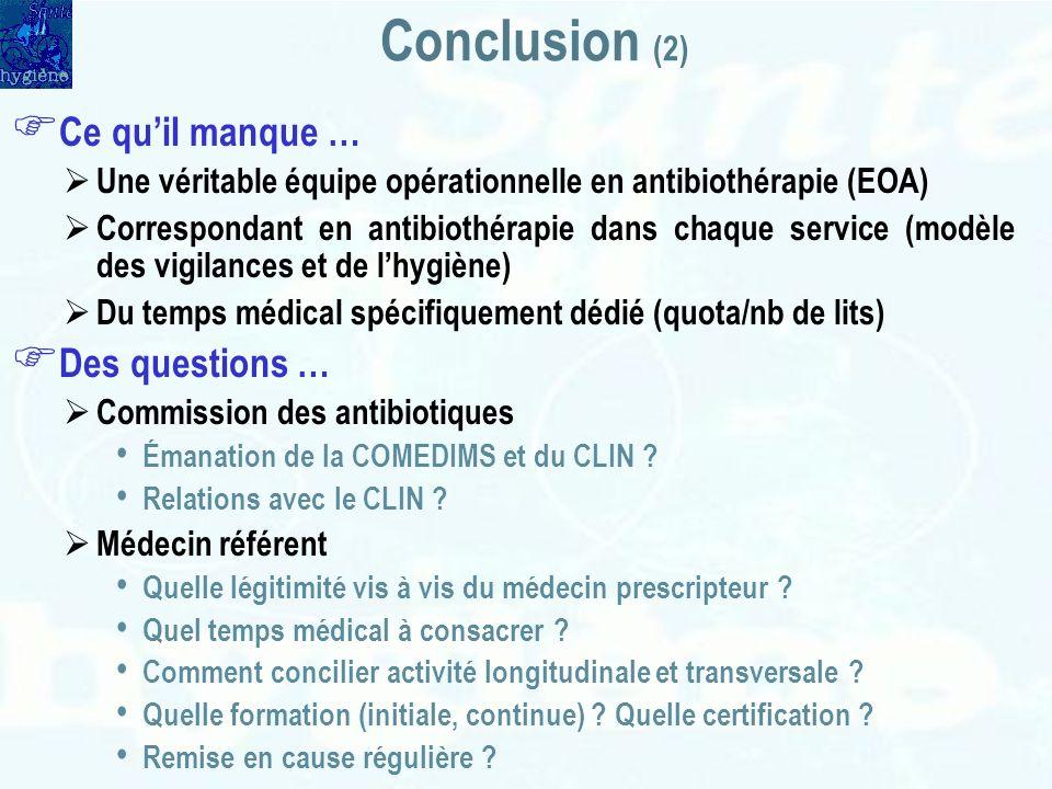 Conclusion (2) Ce quil manque … Une véritable équipe opérationnelle en antibiothérapie (EOA) Correspondant en antibiothérapie dans chaque service (mod