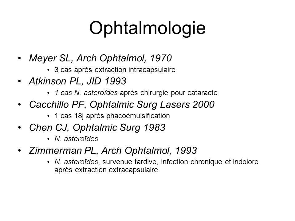 Ophtalmologie Meyer SL, Arch Ophtalmol, 1970 3 cas après extraction intracapsulaire Atkinson PL, JID 1993 1 cas N. asteroïdes après chirurgie pour cat