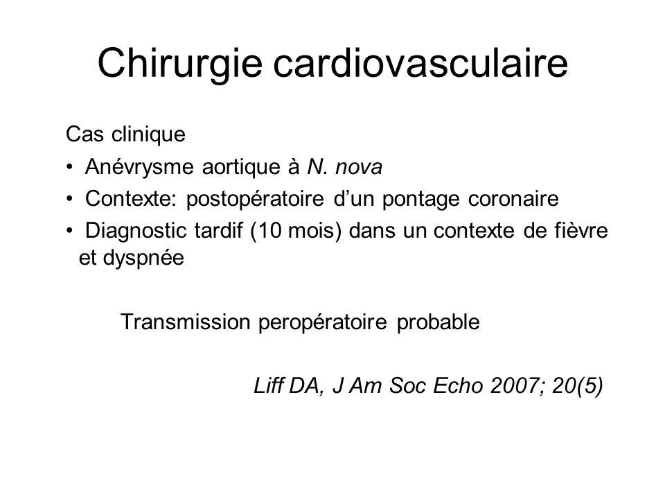 Chirurgie cardiovasculaire Cas clinique Anévrysme aortique à N. nova Contexte: postopératoire dun pontage coronaire Diagnostic tardif (10 mois) dans u