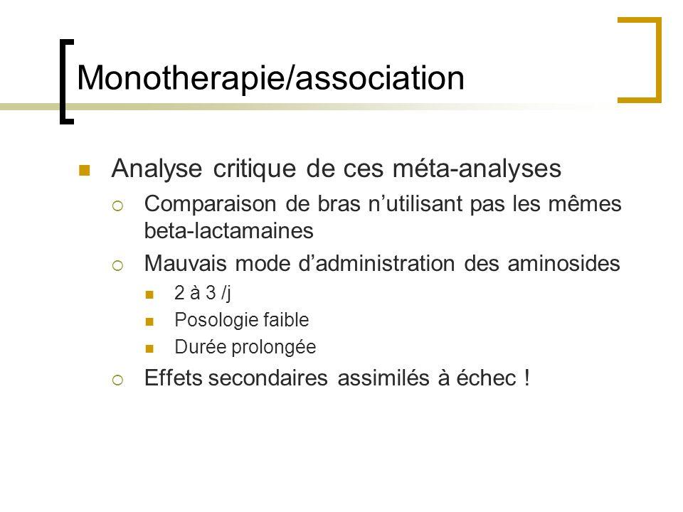 Monotherapie/association Analyse critique de ces méta-analyses Comparaison de bras nutilisant pas les mêmes beta-lactamaines Mauvais mode dadministrat