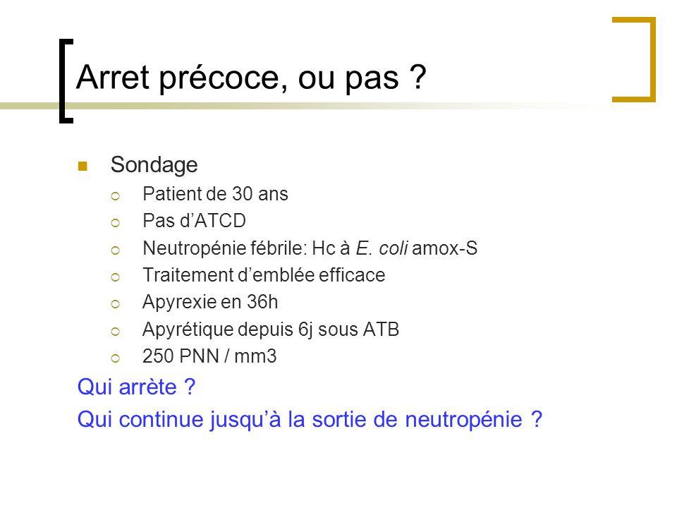 Arret précoce, ou pas ? Sondage Patient de 30 ans Pas dATCD Neutropénie fébrile: Hc à E. coli amox-S Traitement demblée efficace Apyrexie en 36h Apyré
