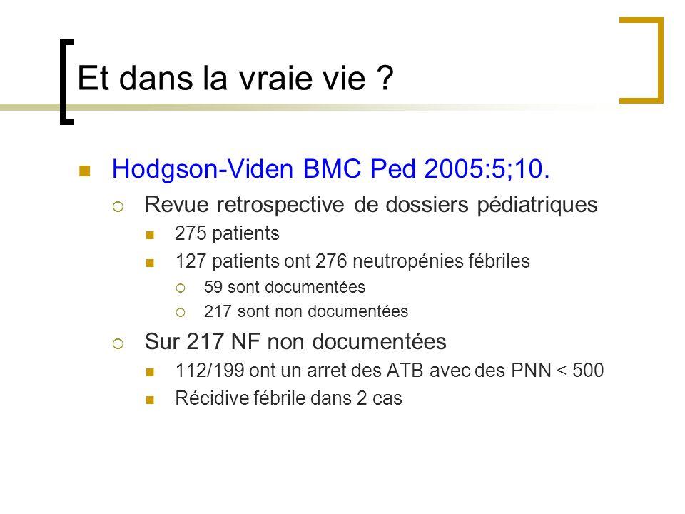 Et dans la vraie vie ? Hodgson-Viden BMC Ped 2005:5;10. Revue retrospective de dossiers pédiatriques 275 patients 127 patients ont 276 neutropénies fé
