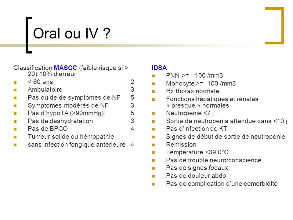 Oral ou IV ? Classification MASCC (faible risque si > 20).10% derreur < 60 ans:2 Ambulatoire3 Pas ou de de symptomes de NF5 Symptomes modérés de NF3 P