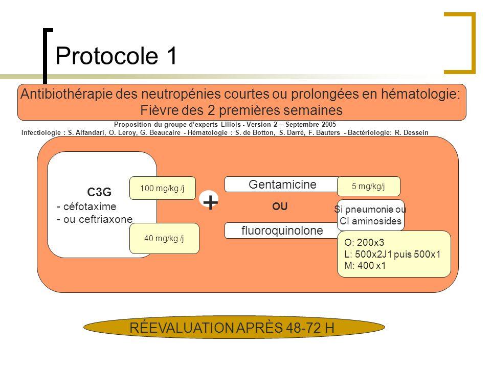 Protocole 1 Antibiothérapie des neutropénies courtes ou prolongées en hématologie: Fièvre des 2 premières semaines Proposition du groupe dexperts Lill