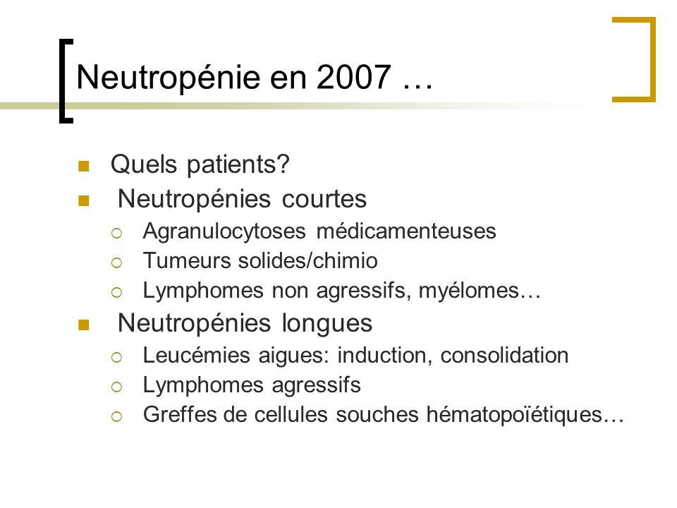 Neutropénie en 2007 … Quels patients? Neutropénies courtes Agranulocytoses médicamenteuses Tumeurs solides/chimio Lymphomes non agressifs, myélomes… N
