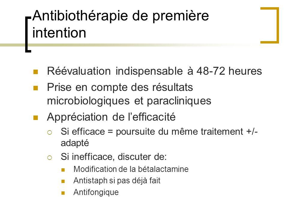 Antibiothérapie de première intention Réévaluation indispensable à 48-72 heures Prise en compte des résultats microbiologiques et paracliniques Appréc