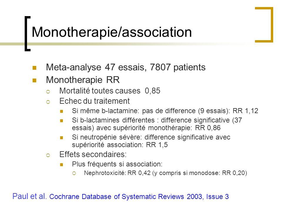 Monotherapie/association Meta-analyse 47 essais, 7807 patients Monotherapie RR Mortalité toutes causes0,85 Echec du traitement Si même b-lactamine: pa