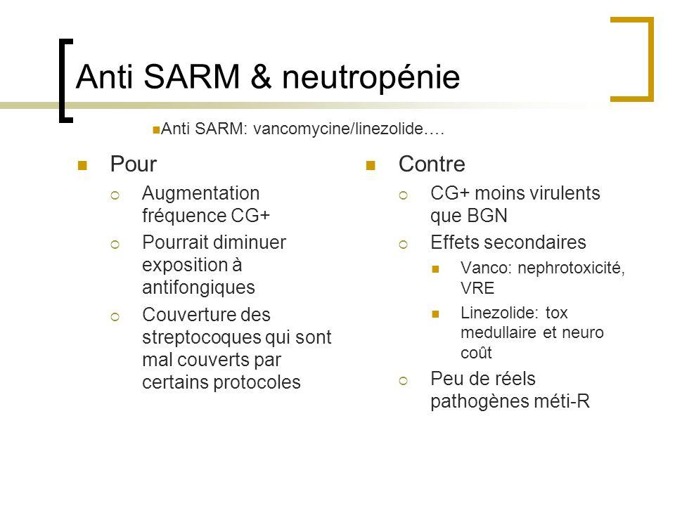 Anti SARM & neutropénie Pour Augmentation fréquence CG+ Pourrait diminuer exposition à antifongiques Couverture des streptocoques qui sont mal couvert