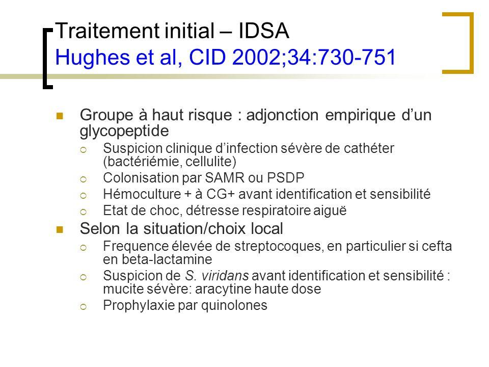 Traitement initial – IDSA Hughes et al, CID 2002;34:730-751 Groupe à haut risque : adjonction empirique dun glycopeptide Suspicion clinique dinfection