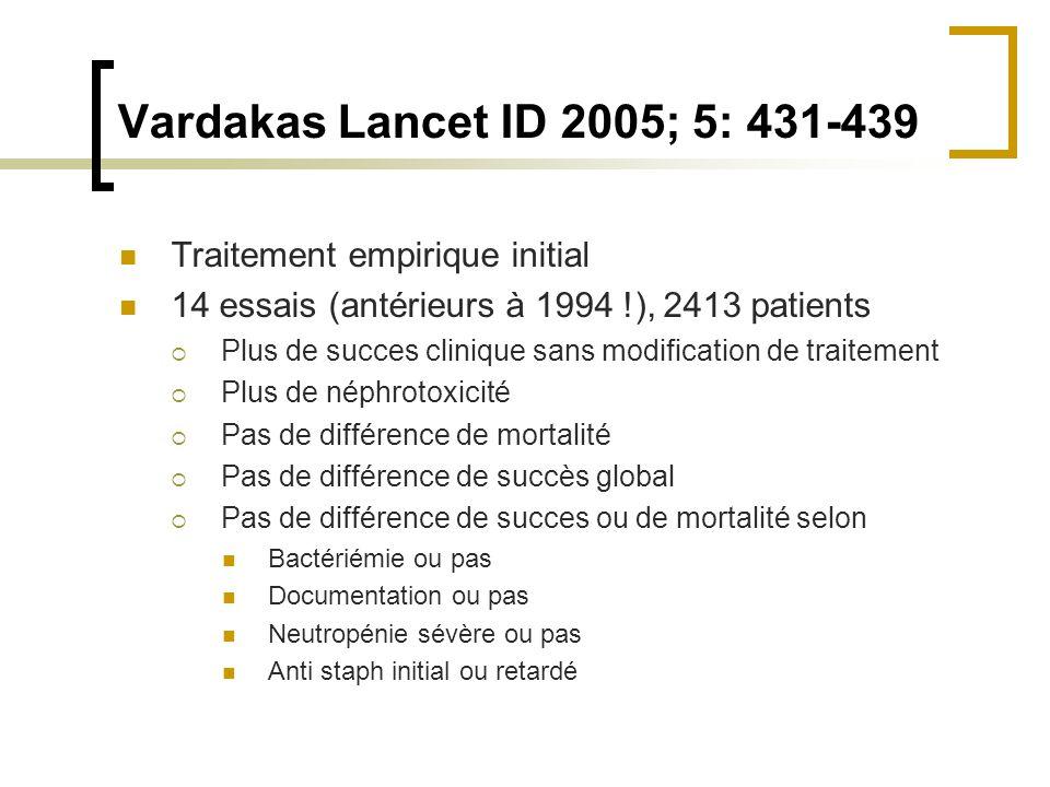 Vardakas Lancet ID 2005; 5: 431-439 Traitement empirique initial 14 essais (antérieurs à 1994 !), 2413 patients Plus de succes clinique sans modificat