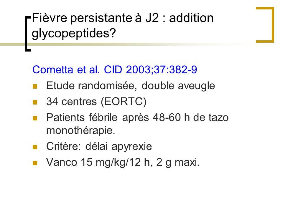 Fièvre persistante à J2 : addition glycopeptides? Cometta et al. CID 2003;37:382-9 Etude randomisée, double aveugle 34 centres (EORTC) Patients fébril