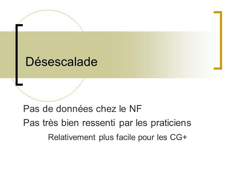 Désescalade Pas de données chez le NF Pas très bien ressenti par les praticiens Relativement plus facile pour les CG+