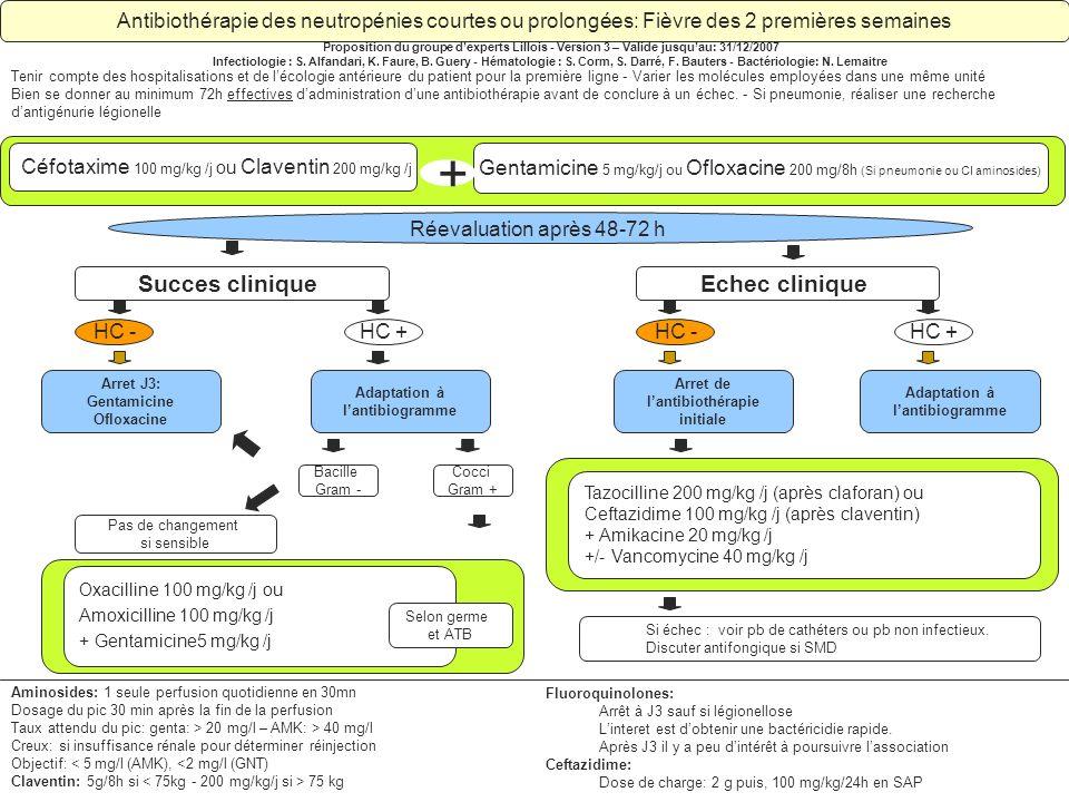 Adaptation à lantibiogramme Antibiothérapie des neutropénies courtes ou prolongées: Fièvre des 2 premières semaines Proposition du groupe dexperts Lil