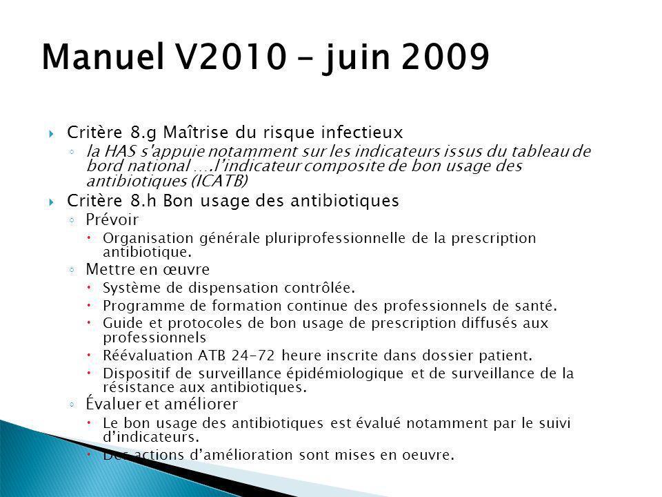Manuel V2010 – juin 2009 Critère 8.g Maîtrise du risque infectieux la HAS s'appuie notamment sur les indicateurs issus du tableau de bord national ….l
